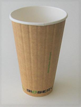 16oz Bioserv Ripple Double Wall Kraft Hot Cup 600 per case