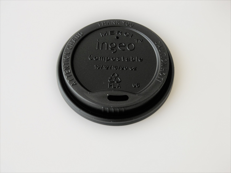 10-20oz Black Compostable Hot Cup Lid 1,000 per case