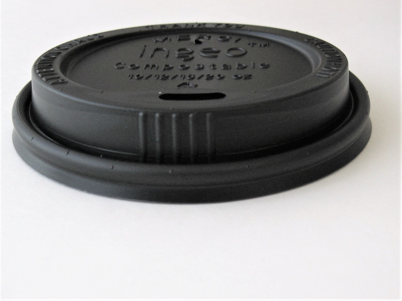 8oz Black Compostable Hot Cup Lid 1,000 per case