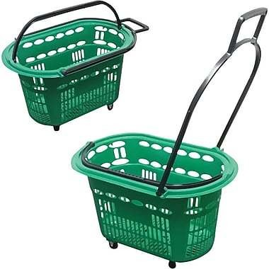 "Futech Rolling Plastic Hand Shopping Basket, 14"" H. x 23"" W. x 15"" D., Green"