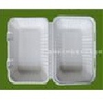"9"" x 6"" x 3"" Sugar Cane Clamshell (Single Compartment) - 250/case"