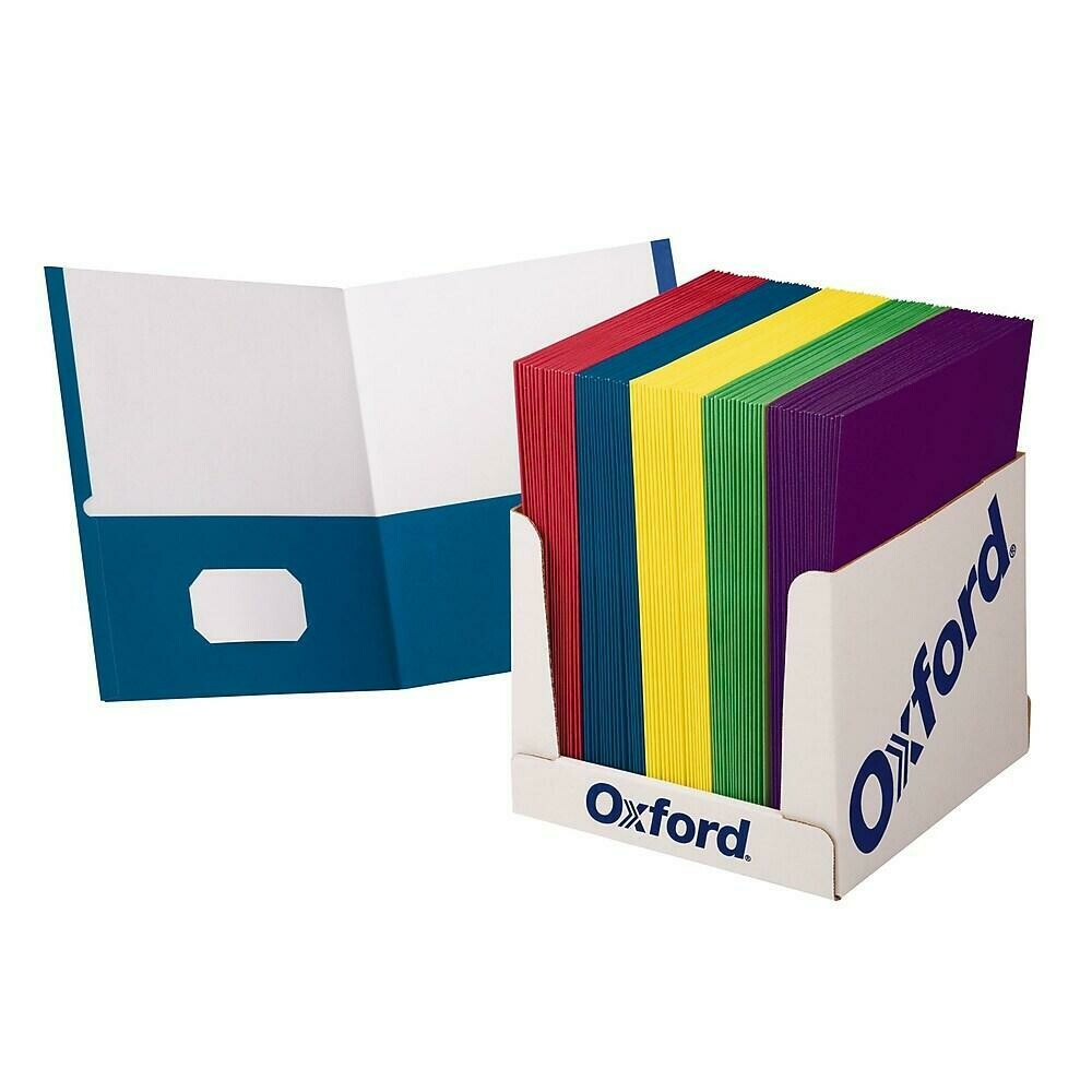 Oxford School Grade Twin Pocket Folders, 100/Pack