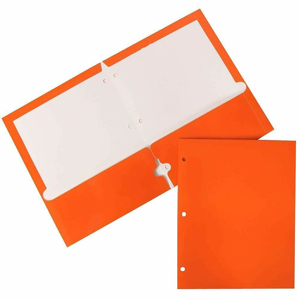 JAM Paper Glossy 2 Pocket 3 Hole Punched Folders, Orange, 6/Pack