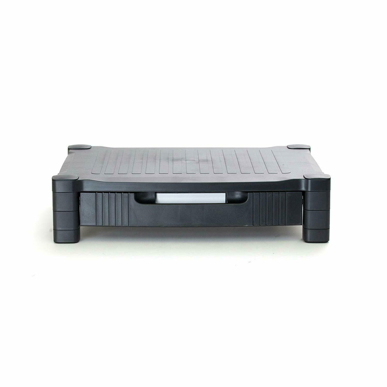 Mind Reader DRPLMONST-BLK Harmonize Adjustable Plastic Monitor Stand with Drawer, Black
