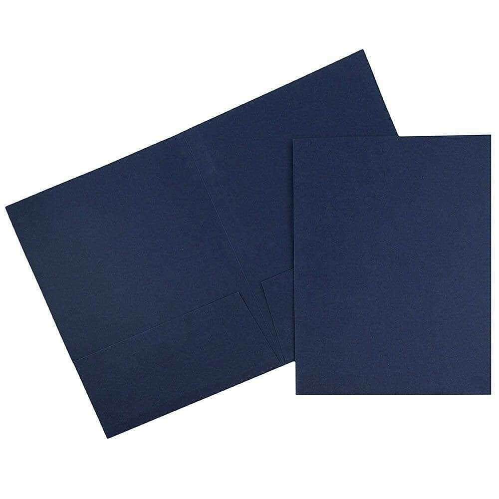 JAM Paper 2 Pocket Linen Folders, Navy Blue, 50/Pack