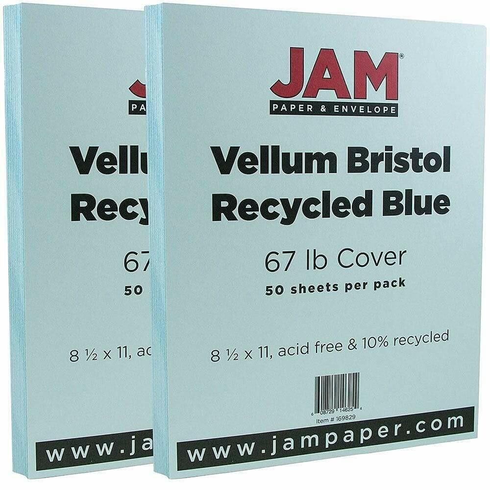 JAM Paper Vellum Bristol Cardstock, 8.5 x 11, 67lb Blue - 50/pack