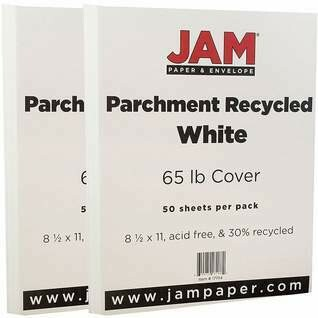 JAM Paper Parchment Cardstock, 8.5 x 11, 65lb White Recycled, 50/pack