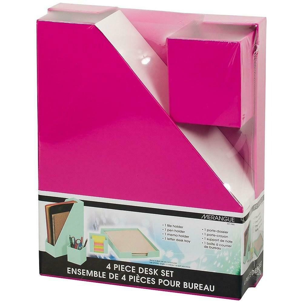 Merangue 4-Piece Paper Desk Set, Pink