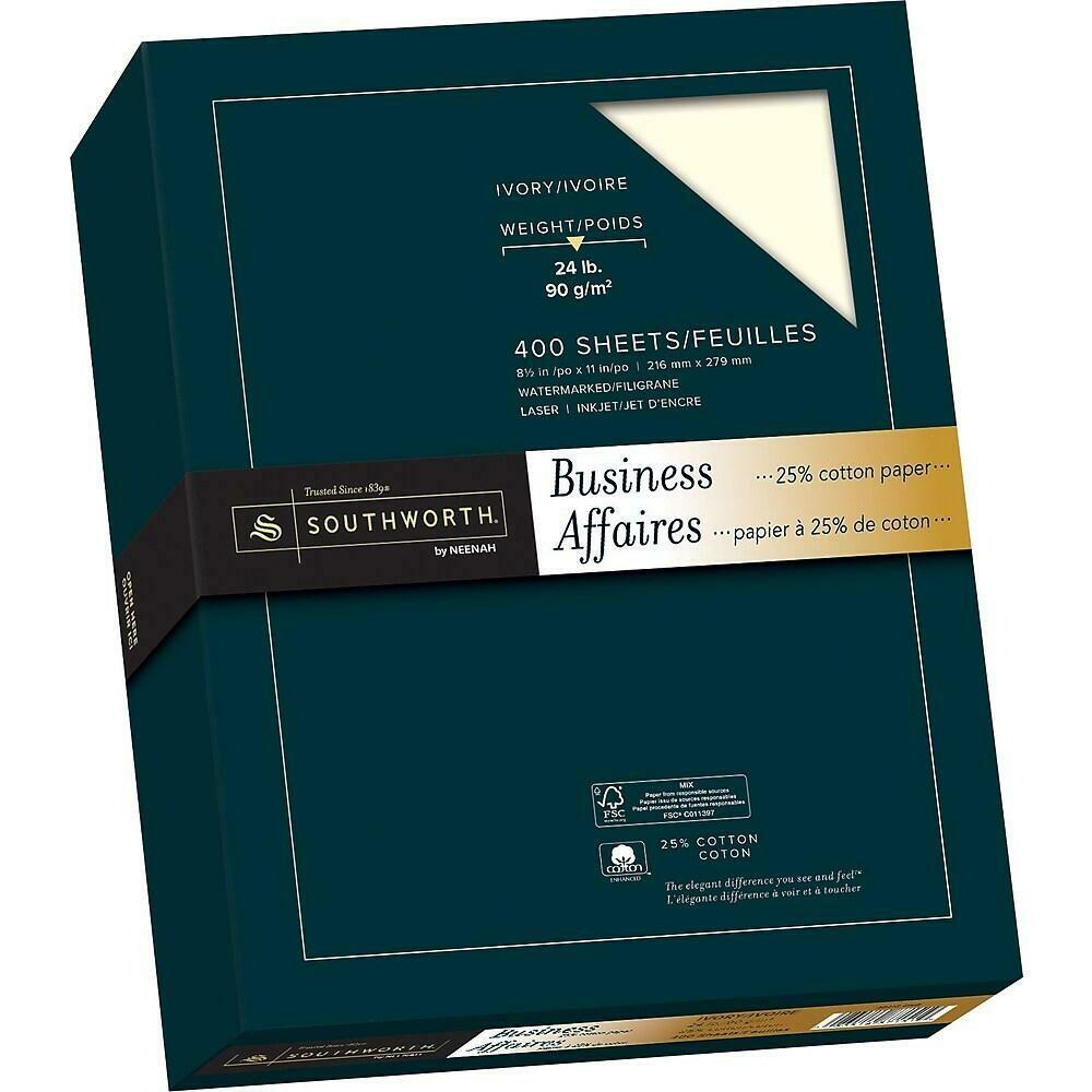 "Southworth 25% Cotton Business Paper, 24 lb, 8-1/2"" x 11"", Ivory, 400/Pack"