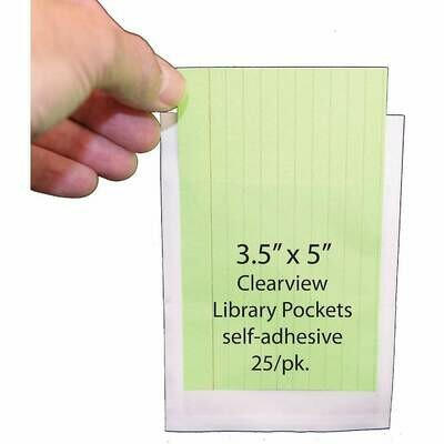 """Ashley 3 1/2"""" x 5"""" Clear View Self Adhesive Library Pockets, 25/Pack"""