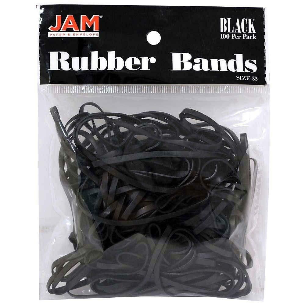 JAM Paper Rubber Bands, #33 Size, Black Rubber Bands, 100/Pack