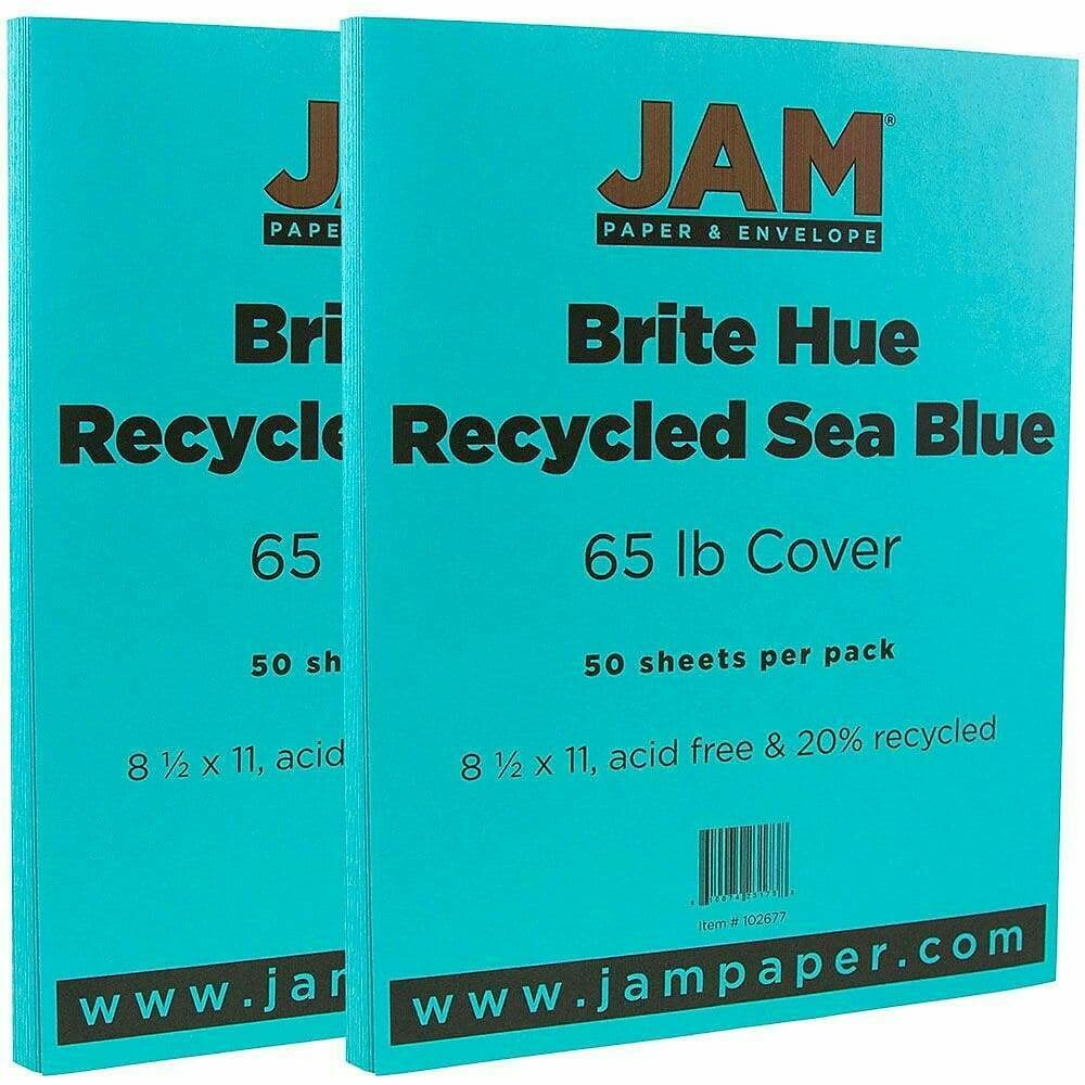 JAM Paper Bright Color Cardstock, 8.5 x 11, 65lb Sea Blue Recycled - 50/pack