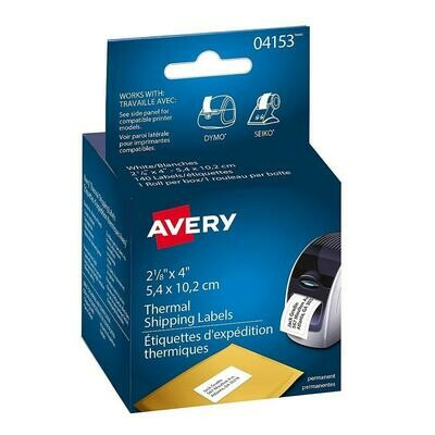 """Avery Thermal Printer Shipping Labels, White, 2-1/8"""" x 4"""", 140/Pack"""