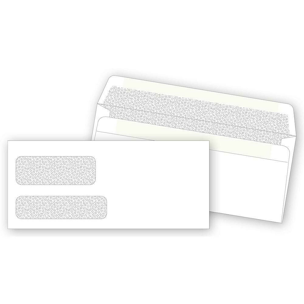 """Deluxe Double Window Self-Seal Confidential Envelopes, 8-7/8"""" x 3-7/8"""" , 500/Pack"""