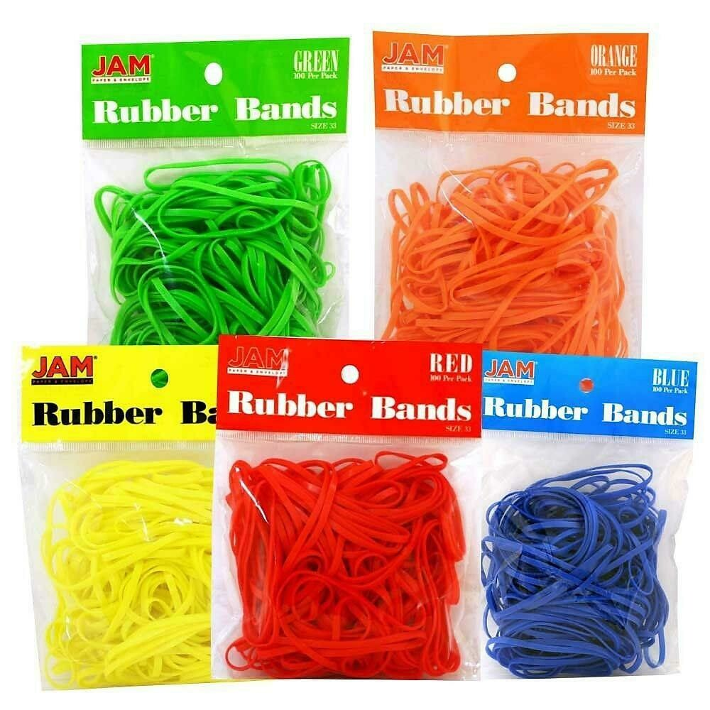 JAM Paper Rubber Bands, #33 Size, Assorted Rubber bands, 4 packs of 100, 400 per set