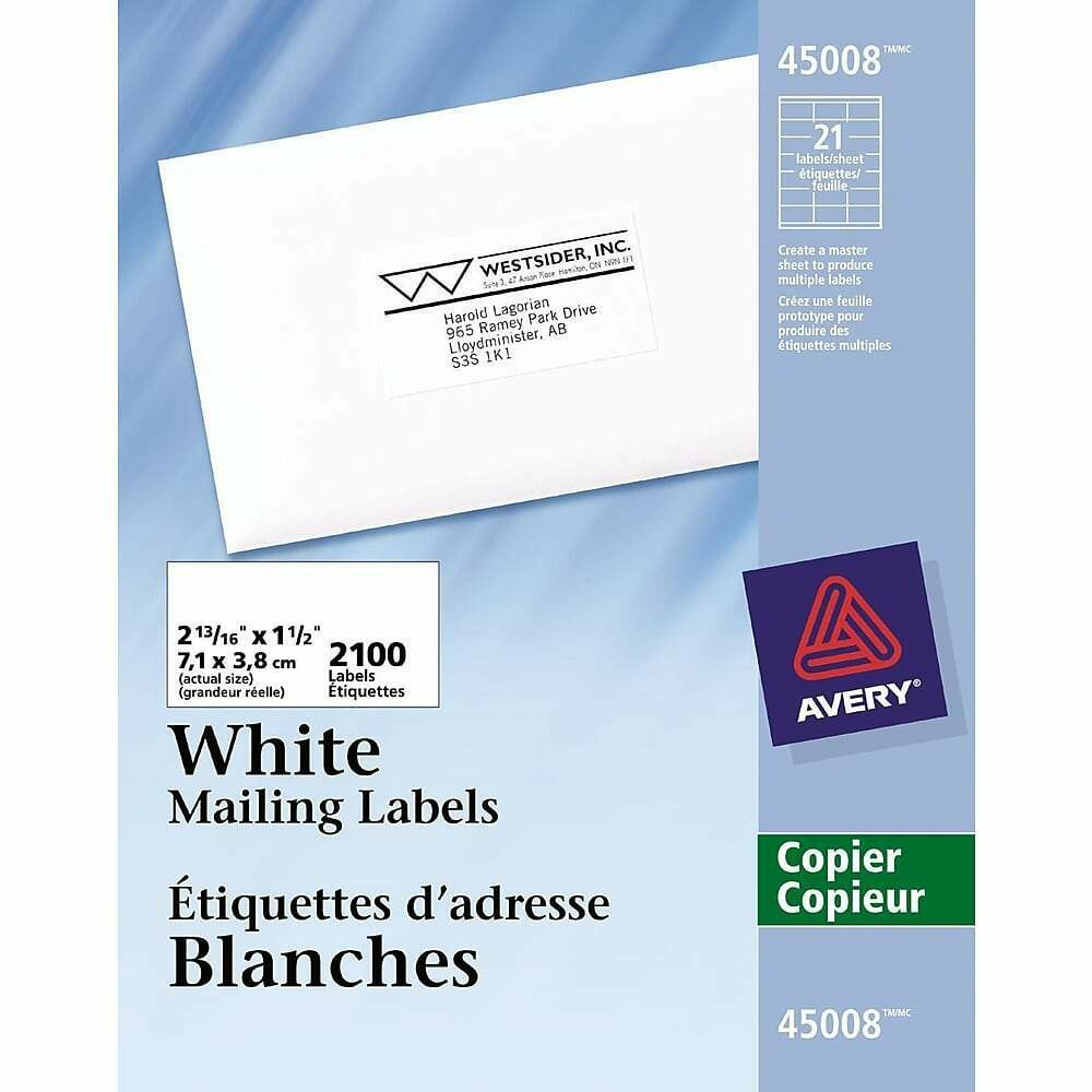 """Avery White Copier Address Labels, 2-13/16"""" x 1-1/2"""", 2,100/Pack"""