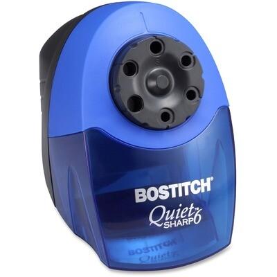 "Bostitch QuietSharp 6 Electric Pencil Sharpener - Desktop - 6 Hole(s) - 7.50"" (190.50 mm) Height x 5"" (127 mm) Width x 9"" (228.60 mm) Depth - Black, Blue"