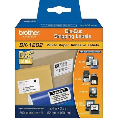 """Brother DK1202 Shipping Labels, 4"""" x 2-3/7"""""""