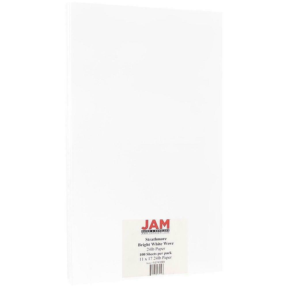 JAM Paper Strathmore Tabloid Paper, 11 x 17, 24lb Bright White Wove, 100/Pack