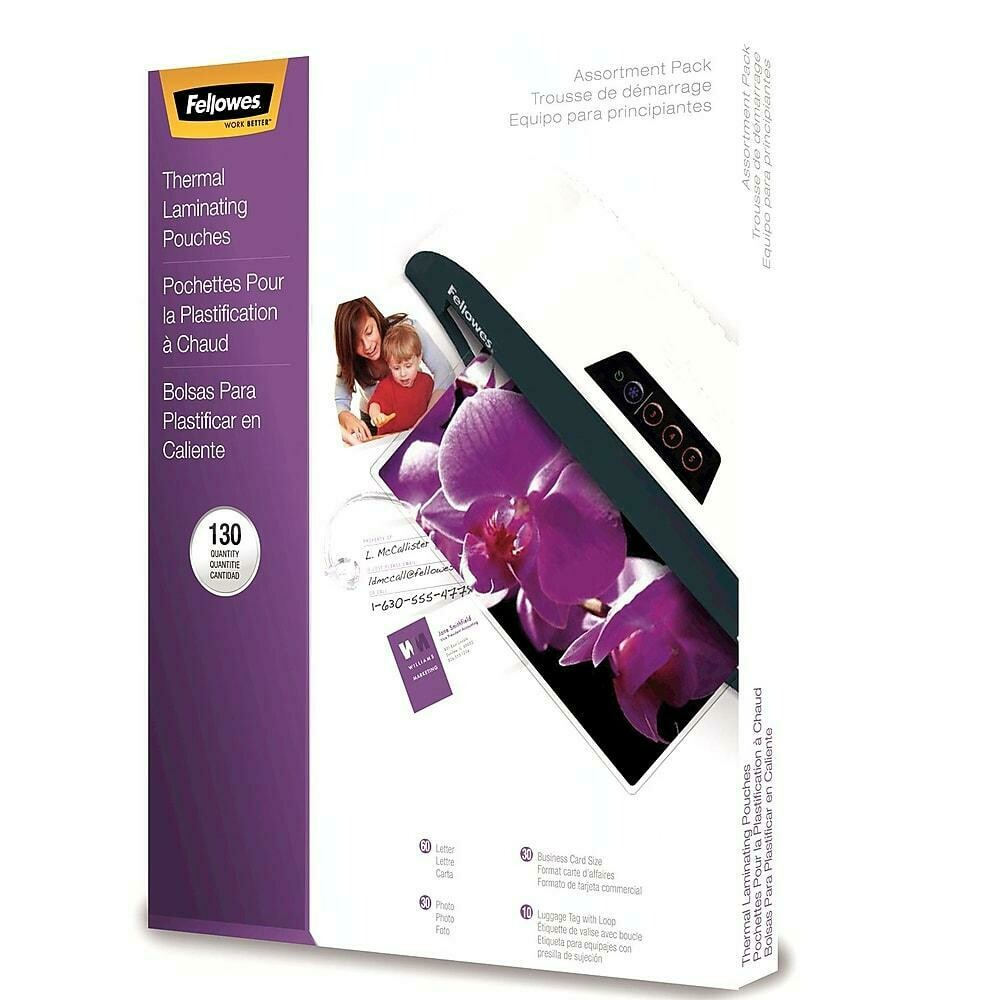 Fellowes Glossy Laminating Pouch Assorted 3mil & 5mil Starter Kit, 130/Pack