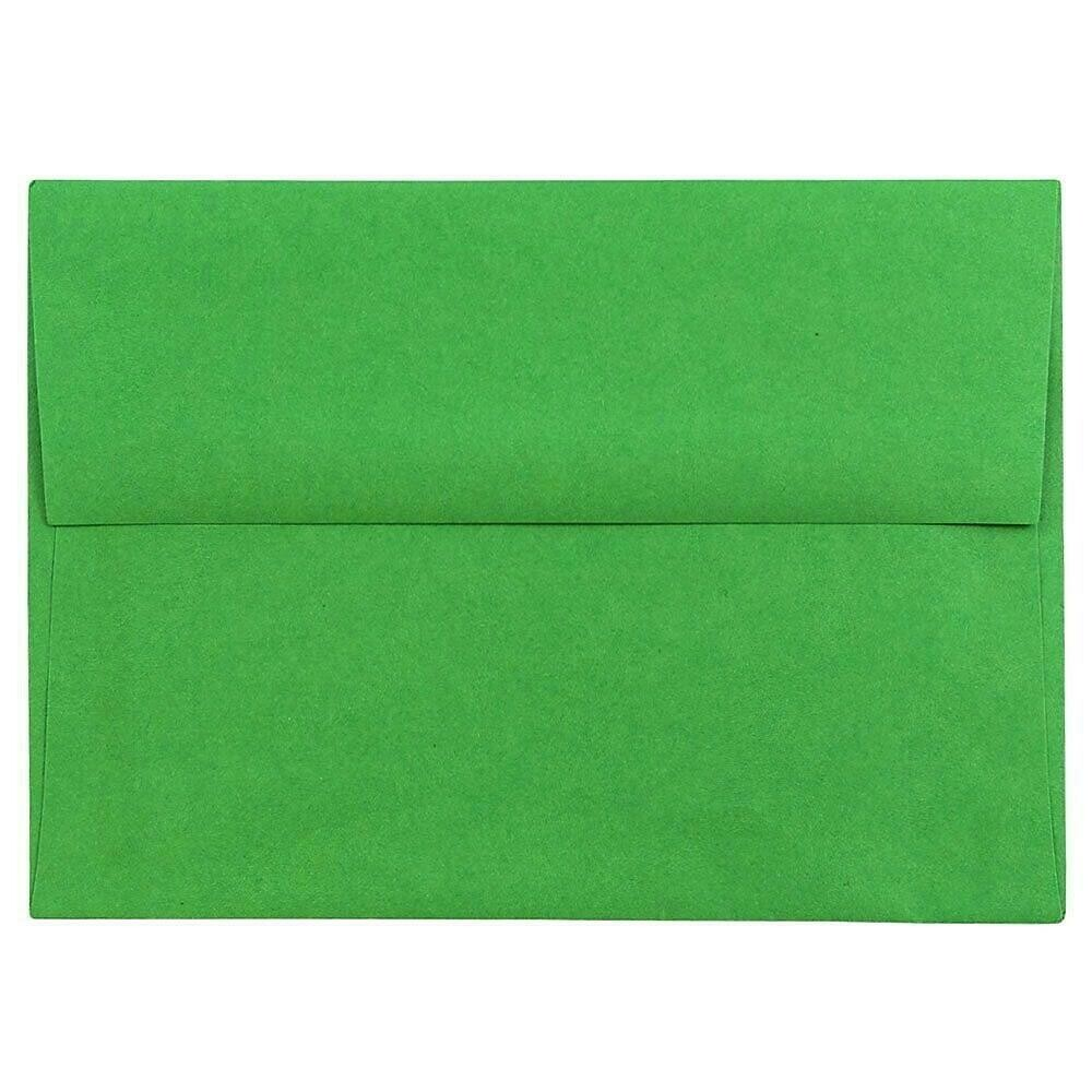 JAM Paper A6 Invitation Envelopes, 4.75 x 6.5, Brite Hue Green Recycled, 50/Pack