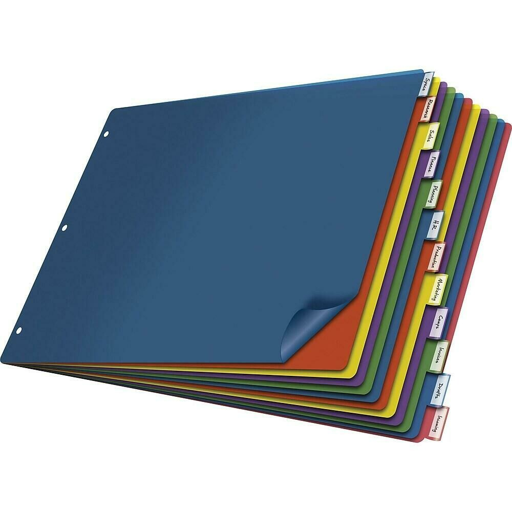 """Cardinal Multicolour Poly Insertable Dividers - 11"""" x 17"""", 12-Tab"""