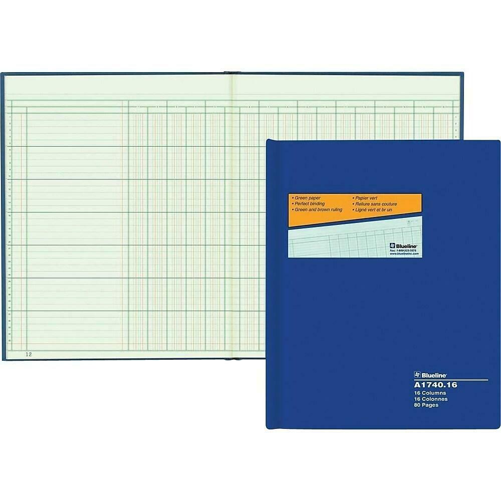 Blueline A1740 Columnar Book, A1740-16, 16 Columns