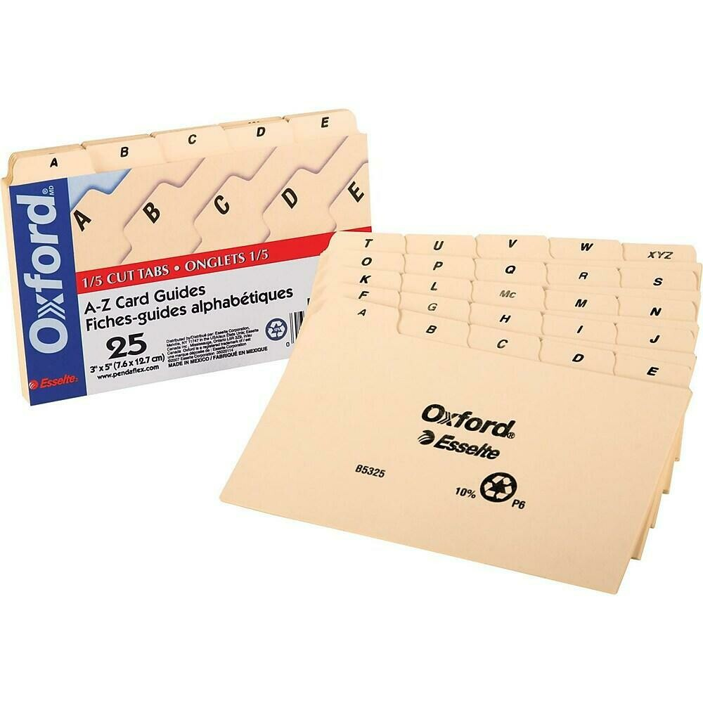 "Oxford 3"" x 5"" Index Card File Guide, A - Z"