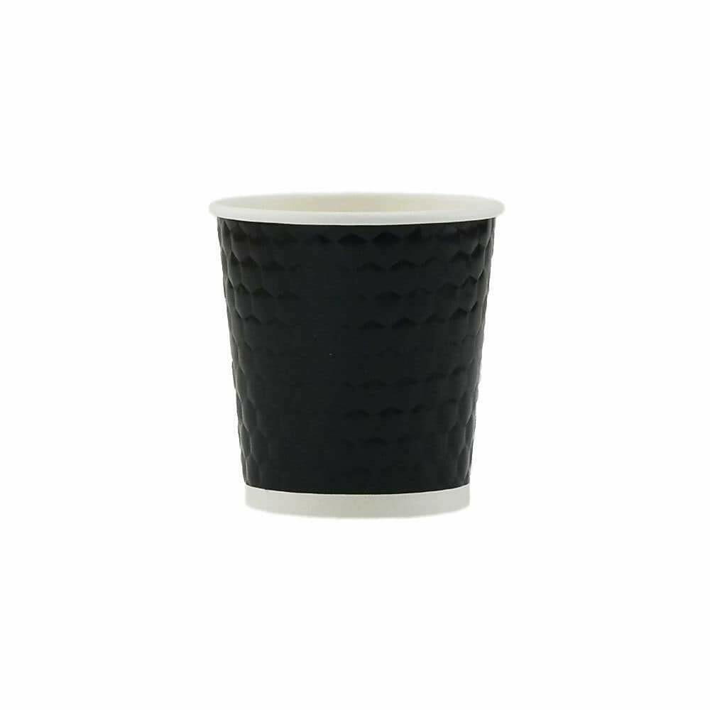 Tannex Double Wall Diamond Paper Coffee Cup, 4oz/118ml, Black - 25/pack