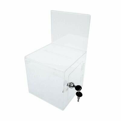 "Futech BBOX002 Clear Acrylic Ballot Box with Lock, 7"""