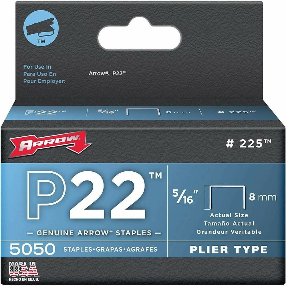 "Arrow #225 Staples for Arrow Plier Stapler PF259 5/16"" - 5,000/box"