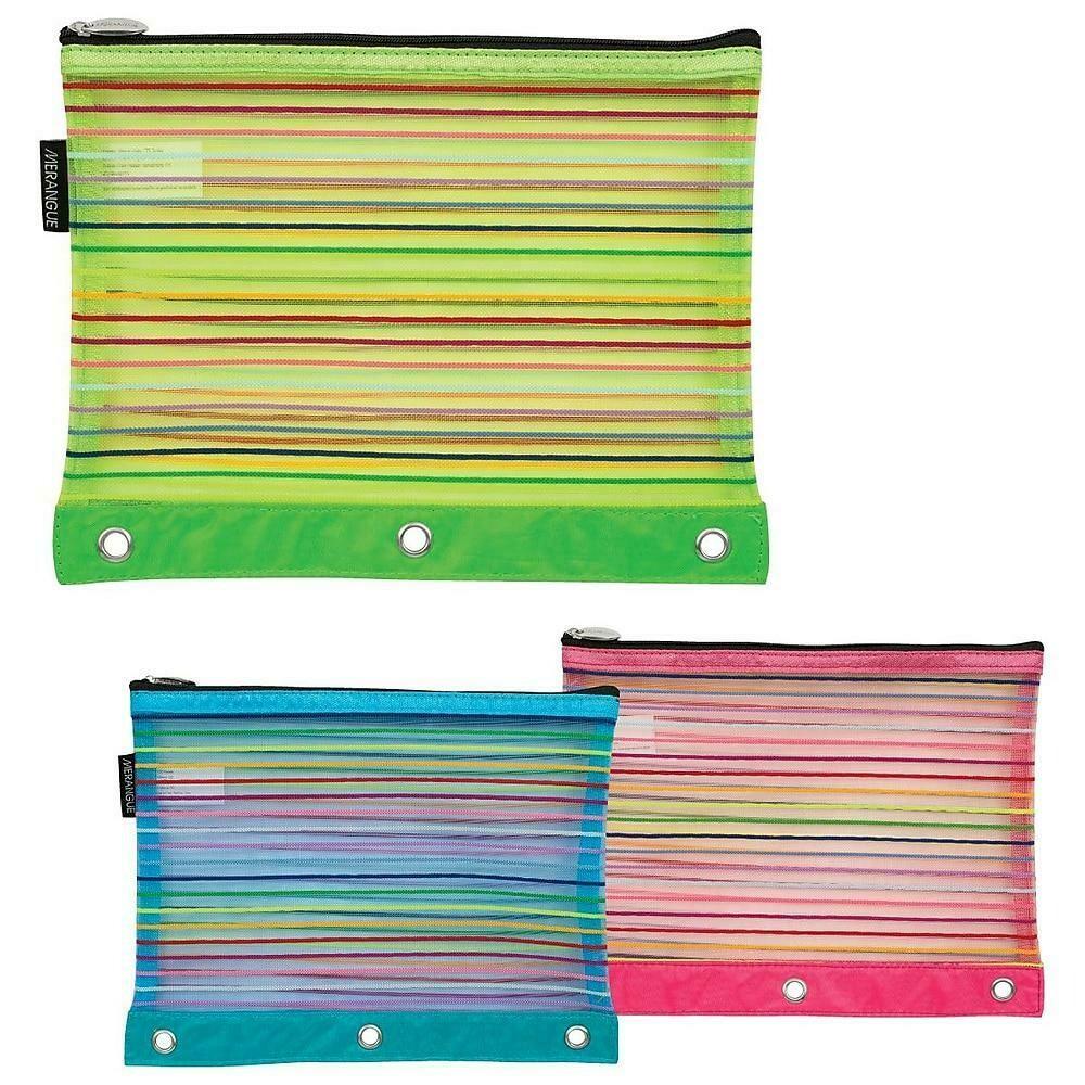 Merangue 3 Ring Binder Mesh Rainbow Pouch, Pink & Blue 12/Pack