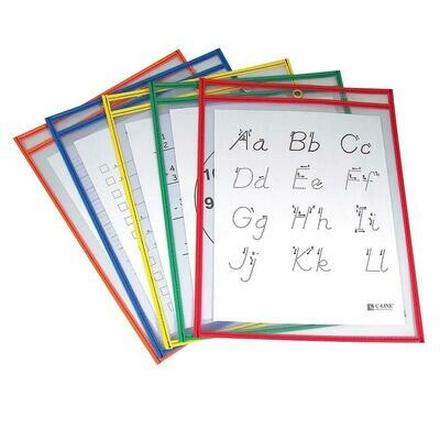 """C-Line Reusable Dry Erase Pockets, Primary Colours, 9"""" x 12"""", 25/Pack"""