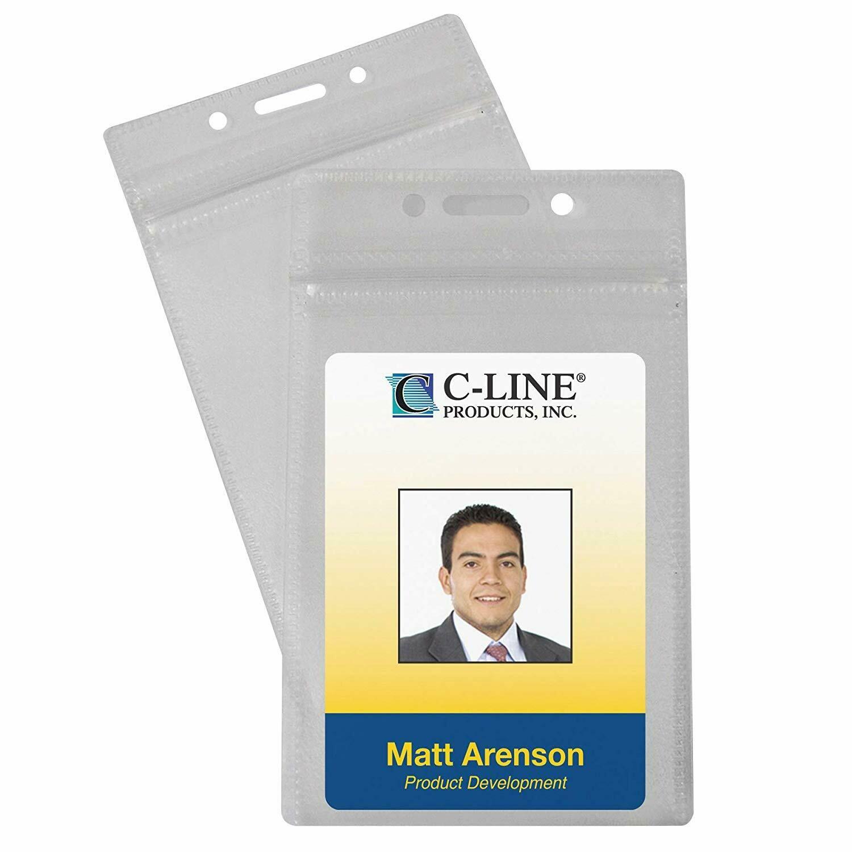 C-line Zippered Vertical Badge Holders, 50/Pack