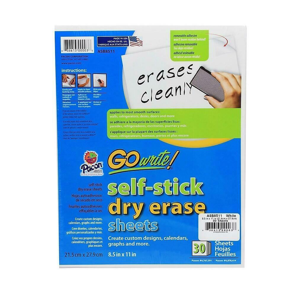 "Pacon Go Write Dry Erase Plain Sheets, 8-1/2"" x 11"", 30 Pack"