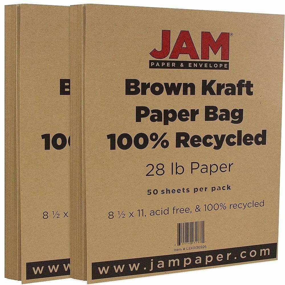JAM Paper Matte Paper, 8.5 x 11, 28lb Brown Kraft Paper Bag Recycled - 50 Sheets/pack