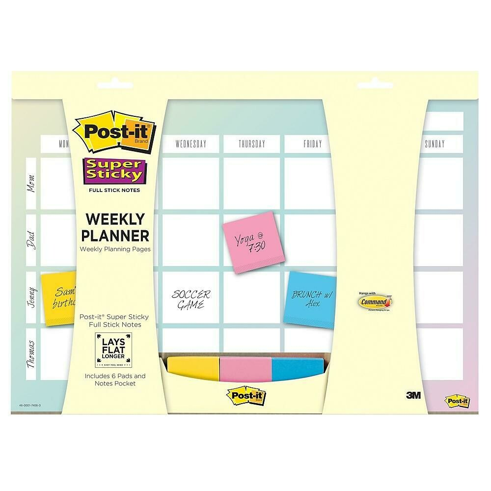 """Post-it Weekly Planner with Super Sticky Full Stick Notes, 18"""" x 12"""""""