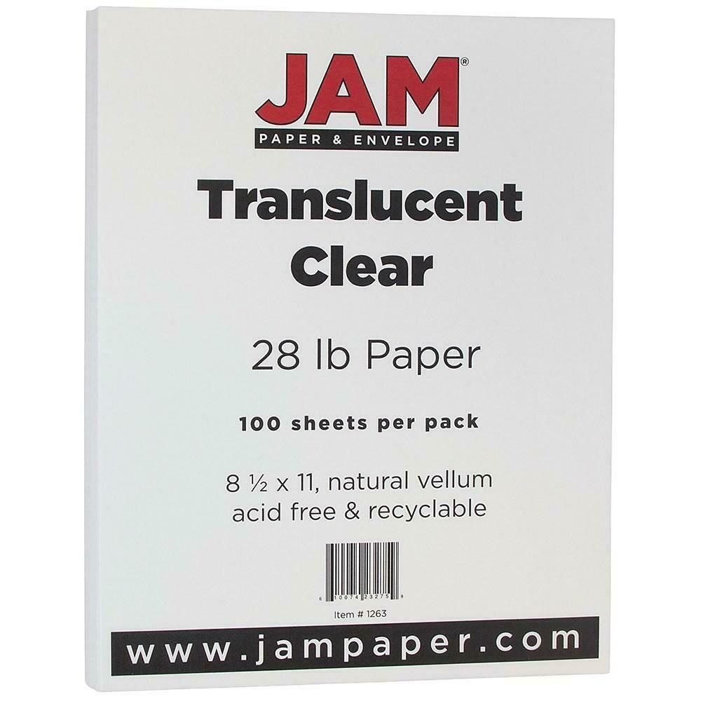 JAM Paper Translucent Vellum Paper, 8.5 x 11, 28lb Clear, 100 Pack