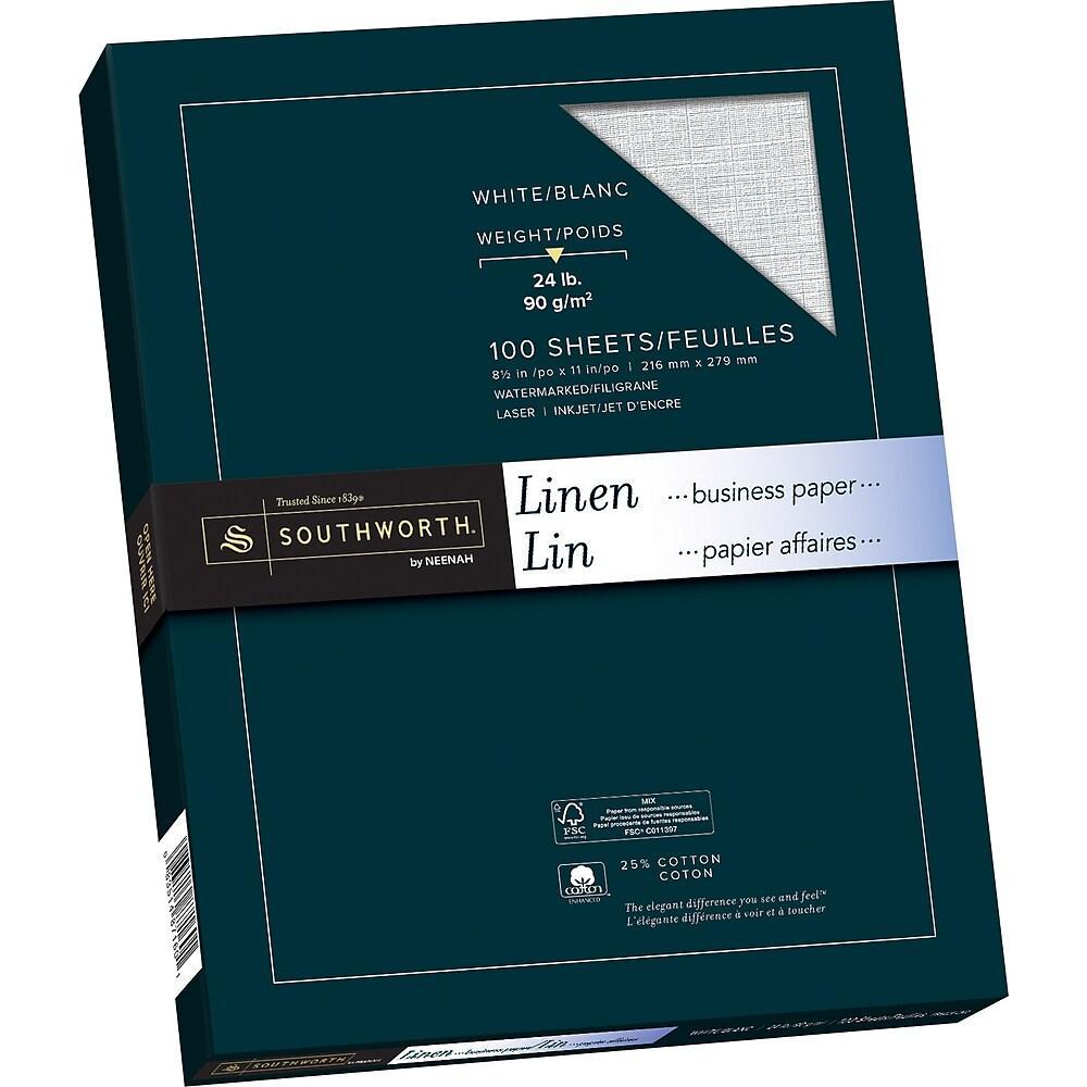 """Southworth Linen Paper, 24 lb, 8-1/2"""" x 11"""", White, 100/Pack"""