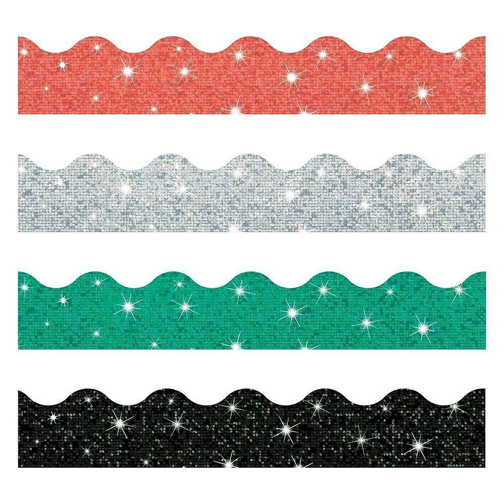 Trend Enterprises Toddler - 12th Grade Solids Trimmer & Bolder Border Variety Pack, Sparkle, 143 Pack