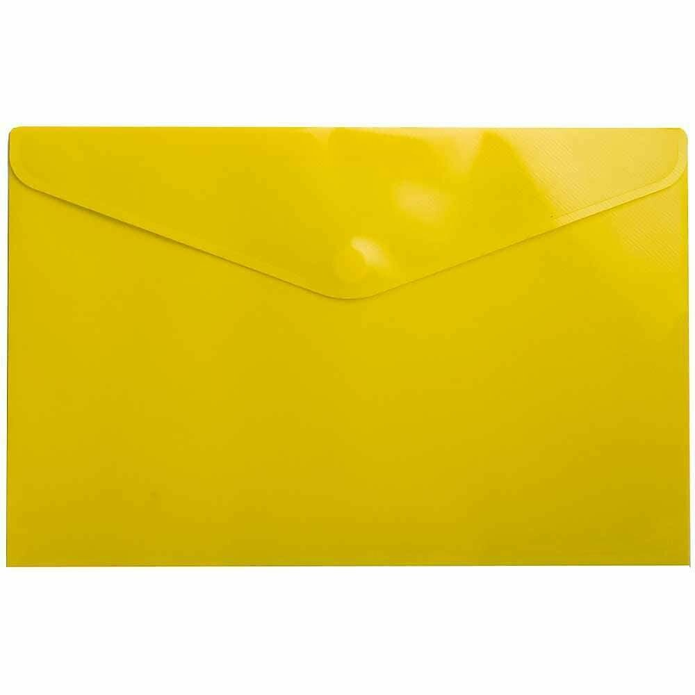 JAM Paper Plastic Envelopes with Velcro Closure, Legal Booklet, 9.75 x 14.5, Yellow Poly, 12 Pack