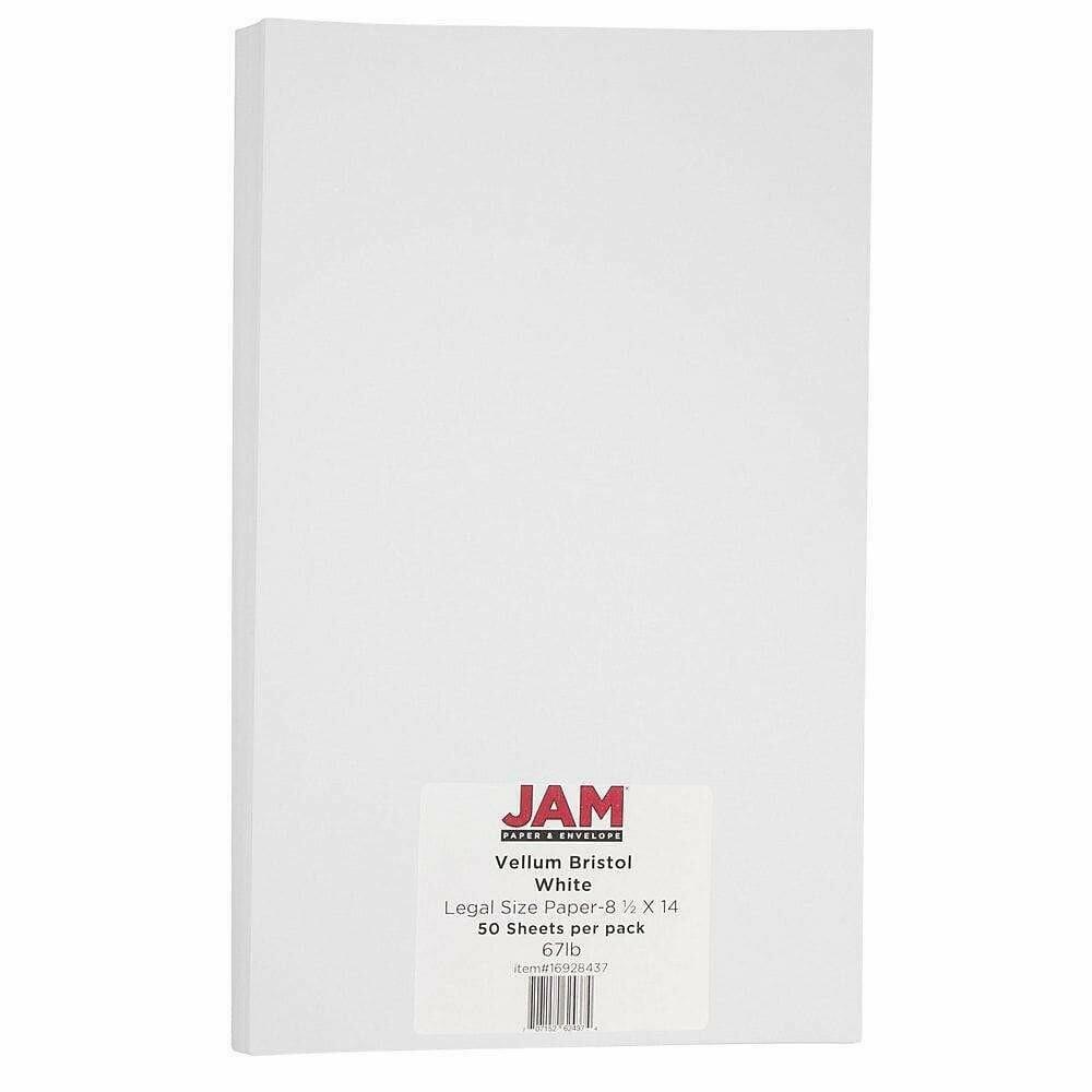 JAM Paper Vellum Bristol Legal Cardstock, 8.5 x 14, 67lb White, 50 Pack