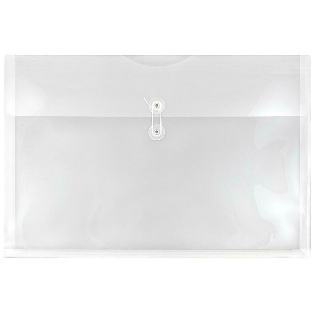 JAM Paper Plastic Envelopes with Button and String Tie Closure, Booklet, 12 x 18, Clear Poly, 12 Pack