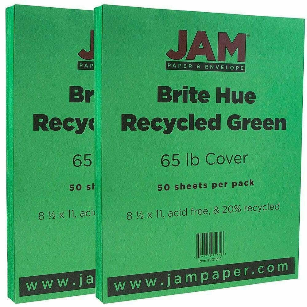 JAM Paper Bright Color Cardstock, 8.5 x 11, 65lb Green Recycled - 50/pack