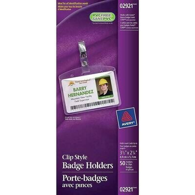 "Avery 2921 Name Badge Holders, Landscape 2 1/4"" x 3 1/2"", 50 Pack"