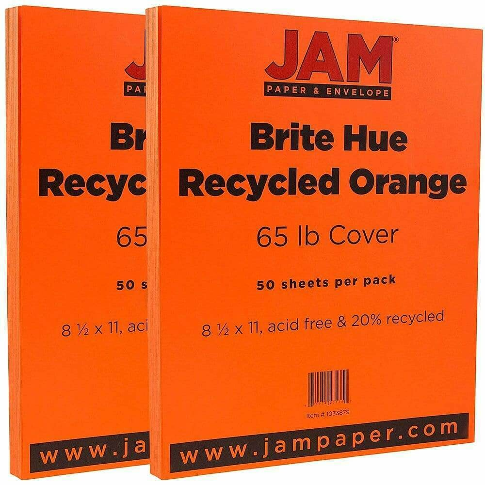 JAM Paper Bright Color Cardstock, 8.5 x 11, 65lb Orange Recycled - 50/pack