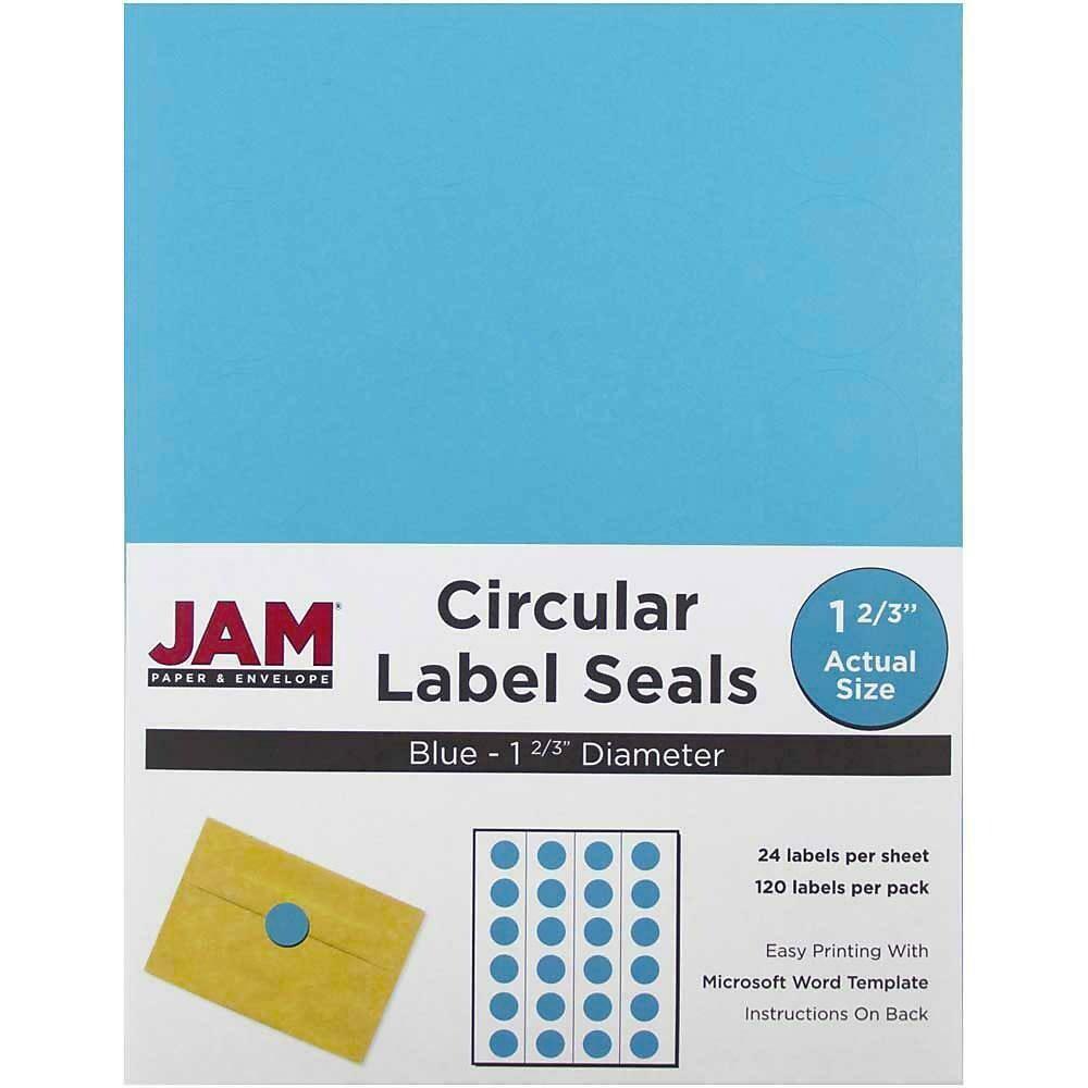 JAM Paper Round Circle Label Sticker Seals, 1 2/3 inch diameter, Blue - 120/pack