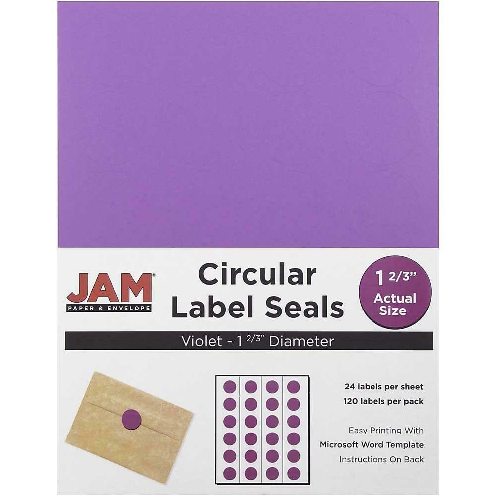 JAM Paper Round Circle Label Sticker Seals, 1 2/3 inch diameter, Violet Purple - 120/pack