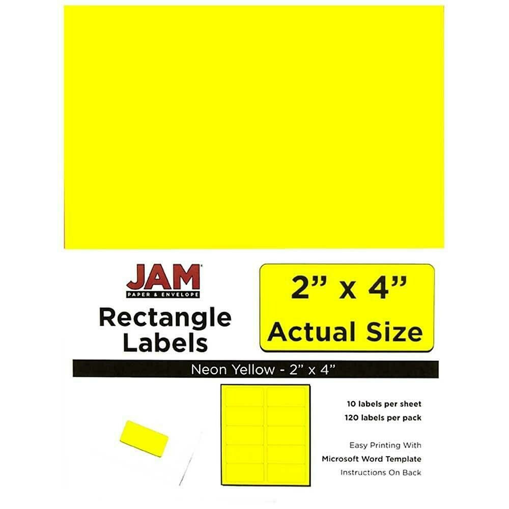 "JAM Paper Mailing Address Labels, 2"" x 4"", Neon Yellow, 120/pack"