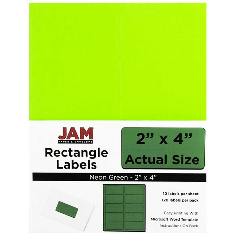 """JAM Paper Mailing Address Labels, 2"""" x 4"""", Neon Green - 120/pack"""